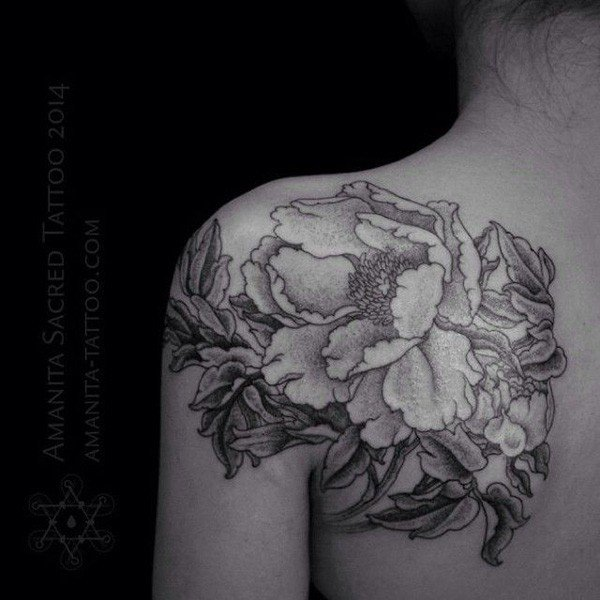 Black And White Peony Flowers Tattoo On Left Back Shoulder