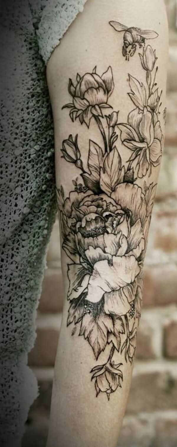Black And White Peony Flowers Tattoo On Left Full Sleeve