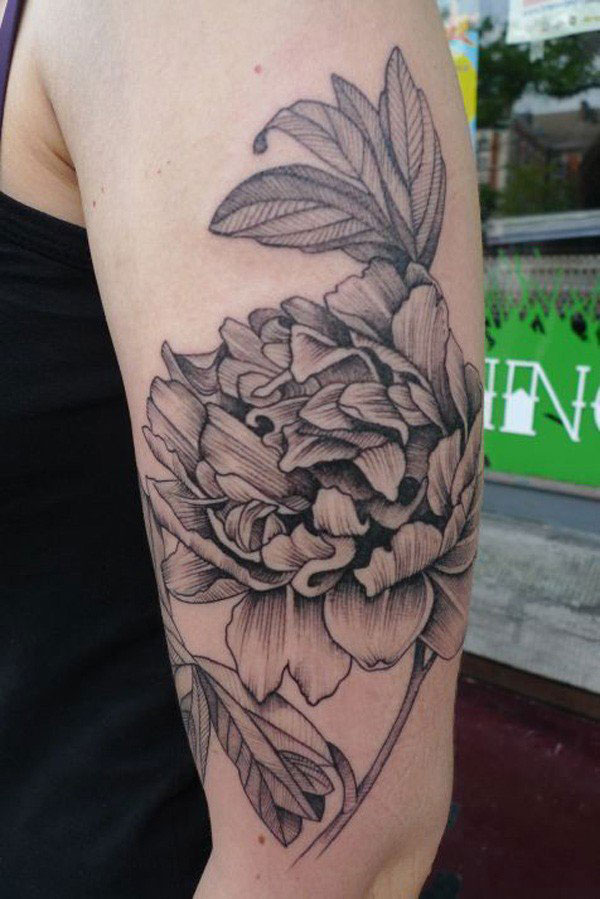 Black And White Peony Flowers Tattoo On Left Half Sleeve