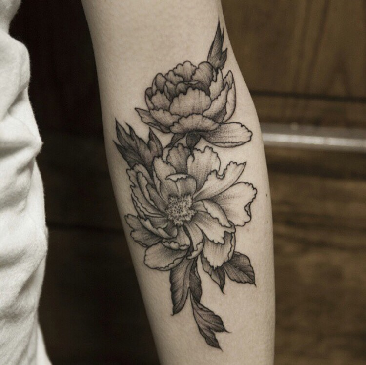 Black And White Peony Flowers Tattoo On Left Sleeve