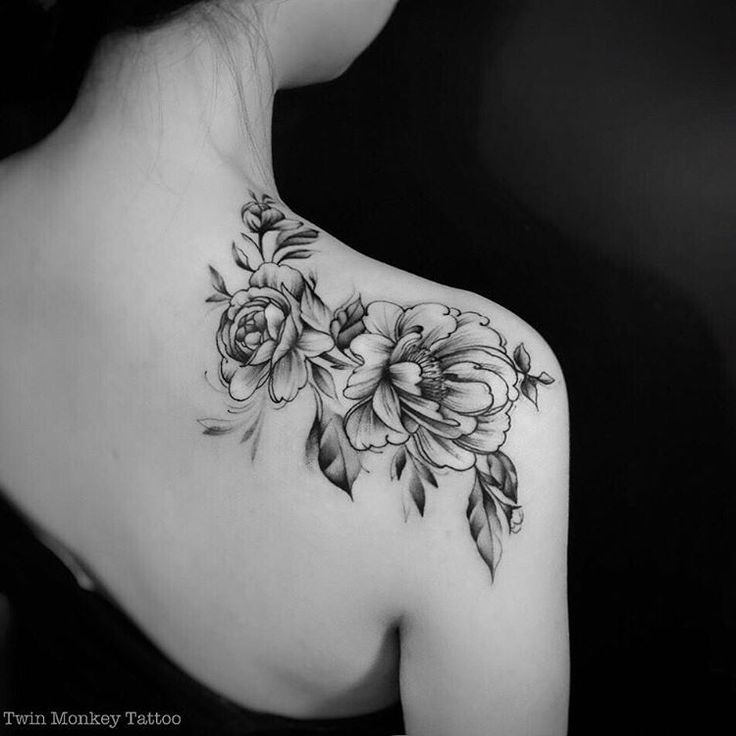 black and white peony flowers tattoo on right back shoulder. Black Bedroom Furniture Sets. Home Design Ideas