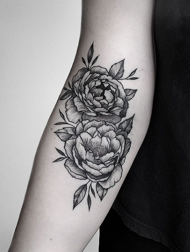 Black And White Peony Flowers Tattoo On Right Forearm