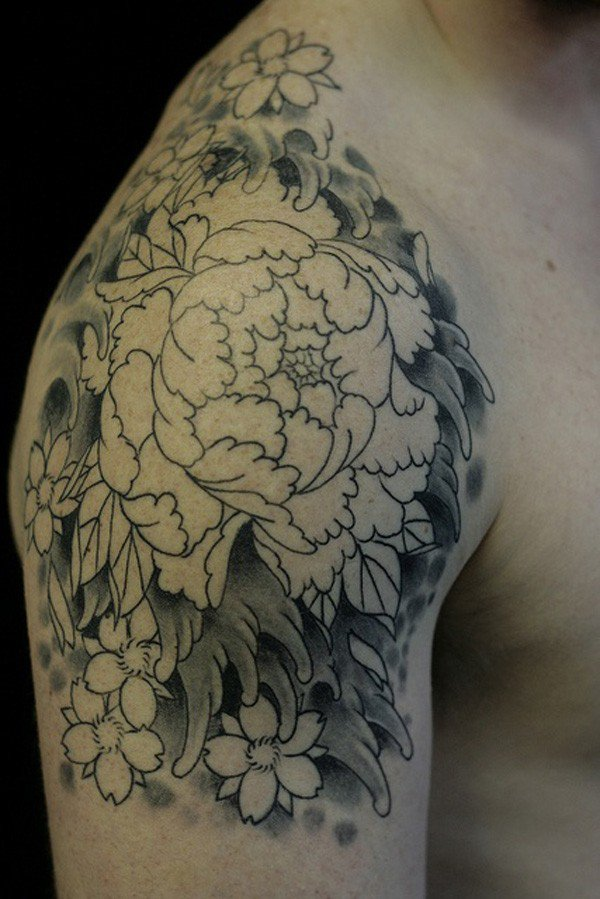 Black And White Peony Flowers Tattoo On Right Shoulder