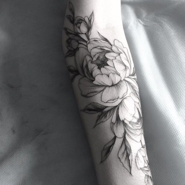 a929005f3 Black Ink Peony Flowers Tattoo Design For Sleeve