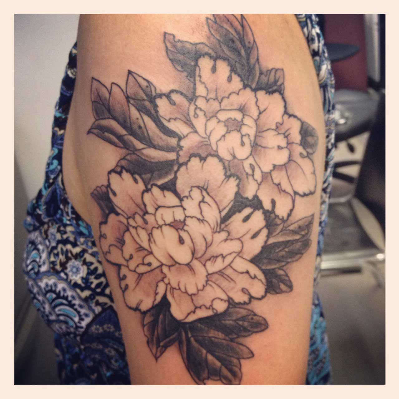 Black And White Peony Flowers Tattoo On Women Left Shoulder