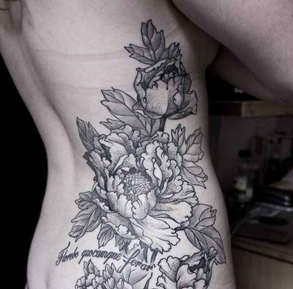 Black And White Peony Flowers Tattoo On Women Right Side Rib