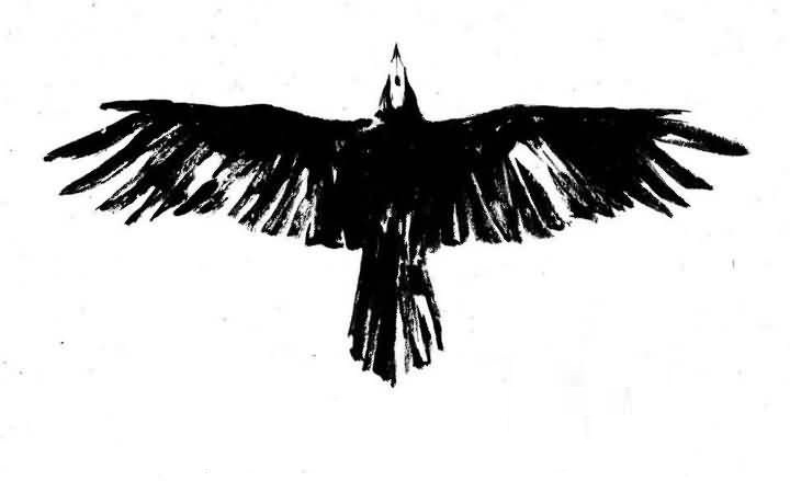 Black Flying Crow Tattoo Design Idea