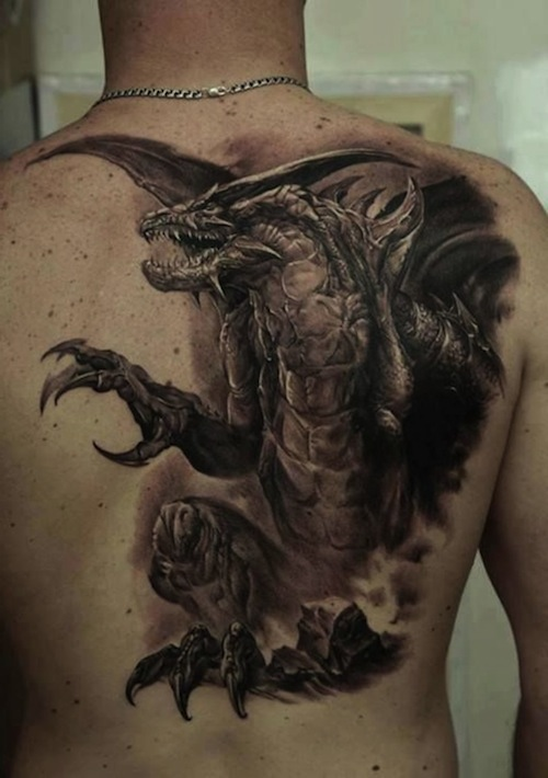 29 amazing dragon tattoos designs and pictures ideas for Dragon back tattoo