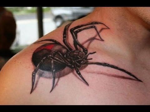 8bb61a25dd022 Black Ink 3D Spider Tattoo On Man Right Shoulder