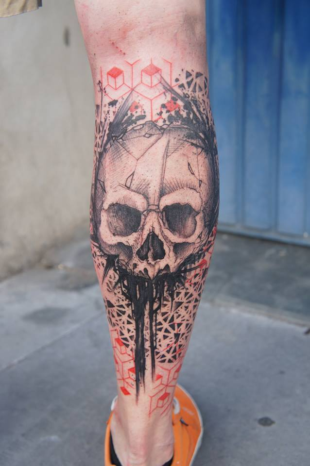Black ink abstract skull tattoo on right leg calf for Skull leg tattoos