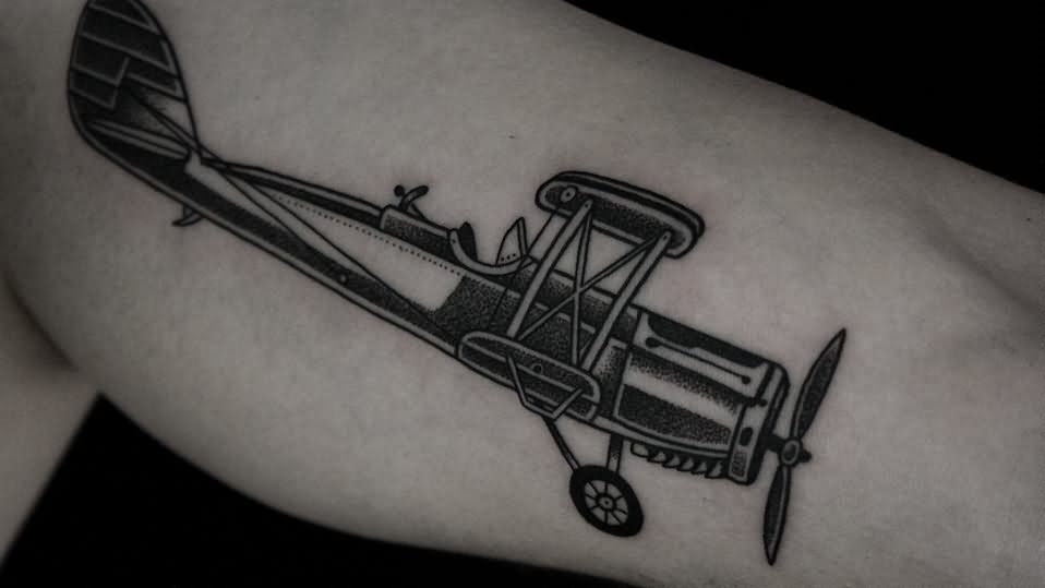 Black Ink Airplane Tattoo Design For Leg Calf