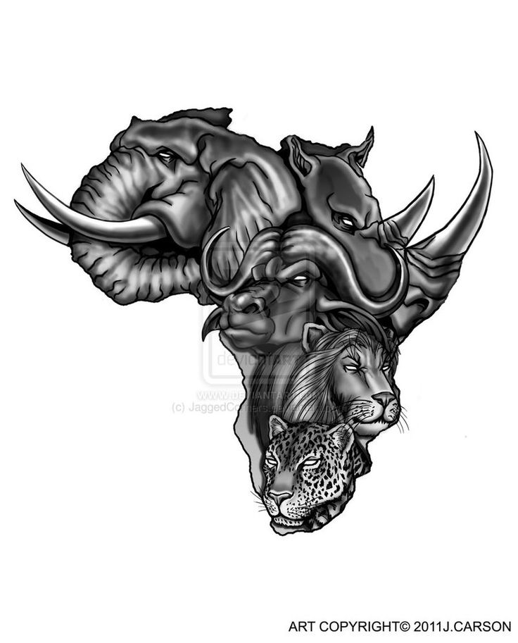 b0ba43daa Black Ink Animals In Africa Map Tattoo Design By Gary Stanyer
