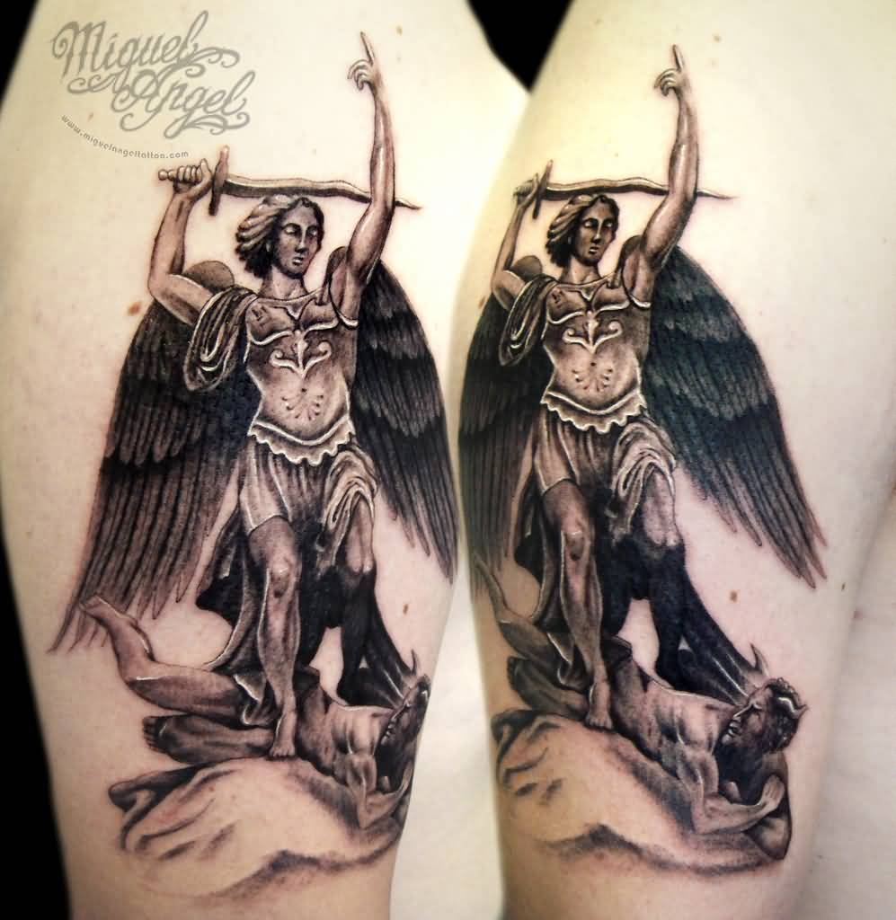 Black Ink Archangel Michael Tattoo On Right Half Sleeve