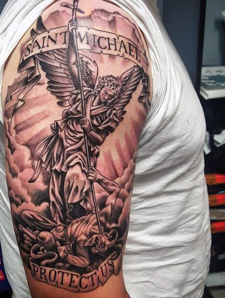 Black Ink Archangel Michael With Banner Tattoo On Man Right Half Sleeve