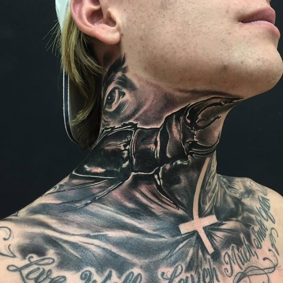 Side Neck Tattoo: 29+ Mind Blowing Beetle Tattoo Images, Pictures And Photos