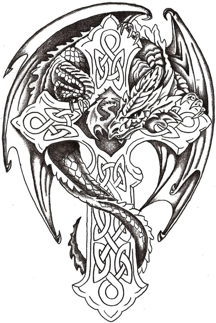 Black Ink Celtic Cross With Dragon