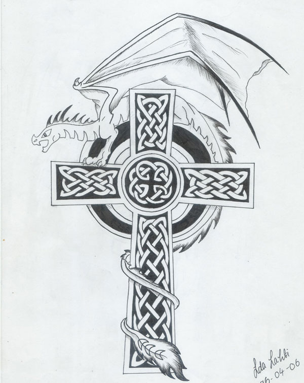 Black Ink Celtic Cross With Dragon Tattoo Design