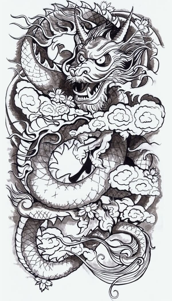 Black Ink Chinese Dragon With Flowers Tattoo Design