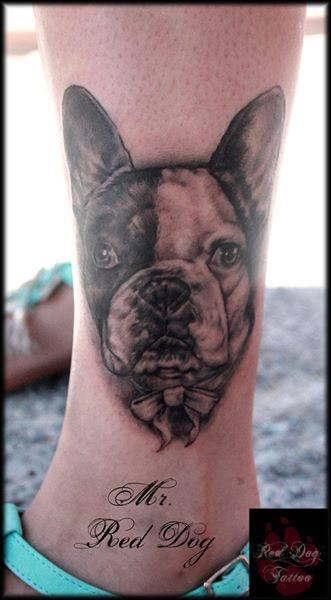 Black Ink Dog Head Tattoo On Ankle