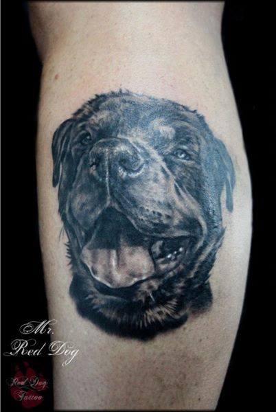 9 amazing dog tattoos on leg. Black Bedroom Furniture Sets. Home Design Ideas