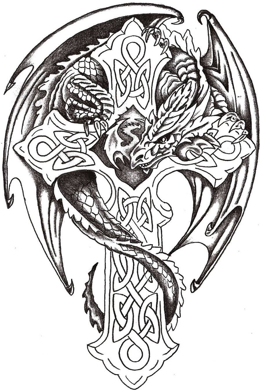 Black Ink Dragon With Celtic Cross Tattoo Design By Steve Laube