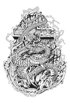 Black Ink Dragon With Cross Tattoo Design