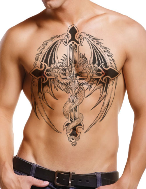 Black Ink Dragon With Cross Tattoo On Man Full Body