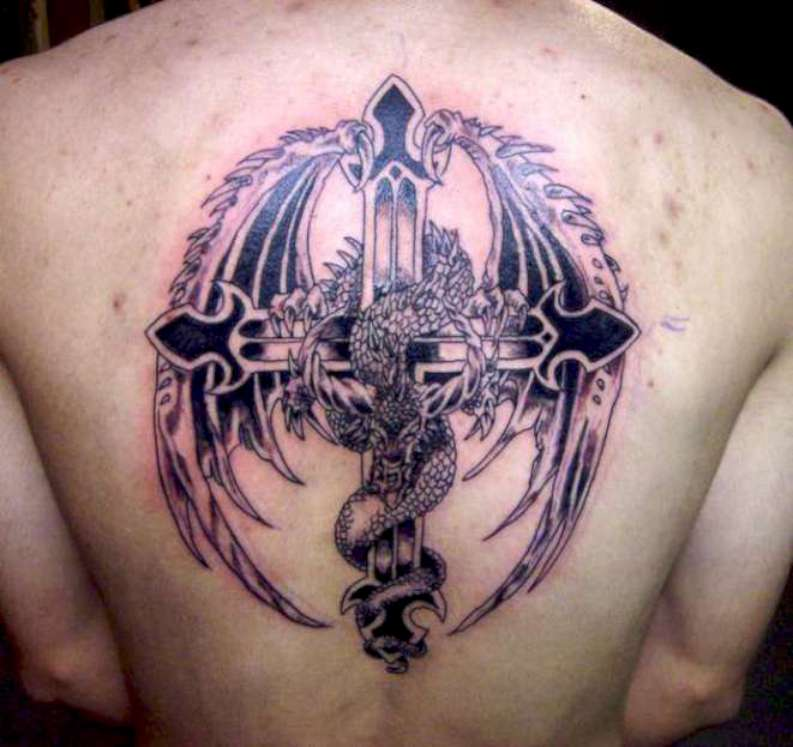 Black Ink Dragon With Cross Tattoo On Man Upper Back