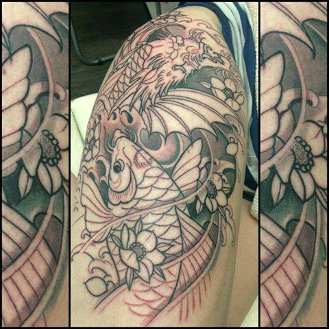 30 koi fish tattoo designs with meanings for Black dragon koi