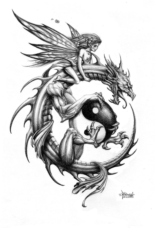 Black Ink Dragon With Yin Yang And Fairy Tattoo Design By Loren86