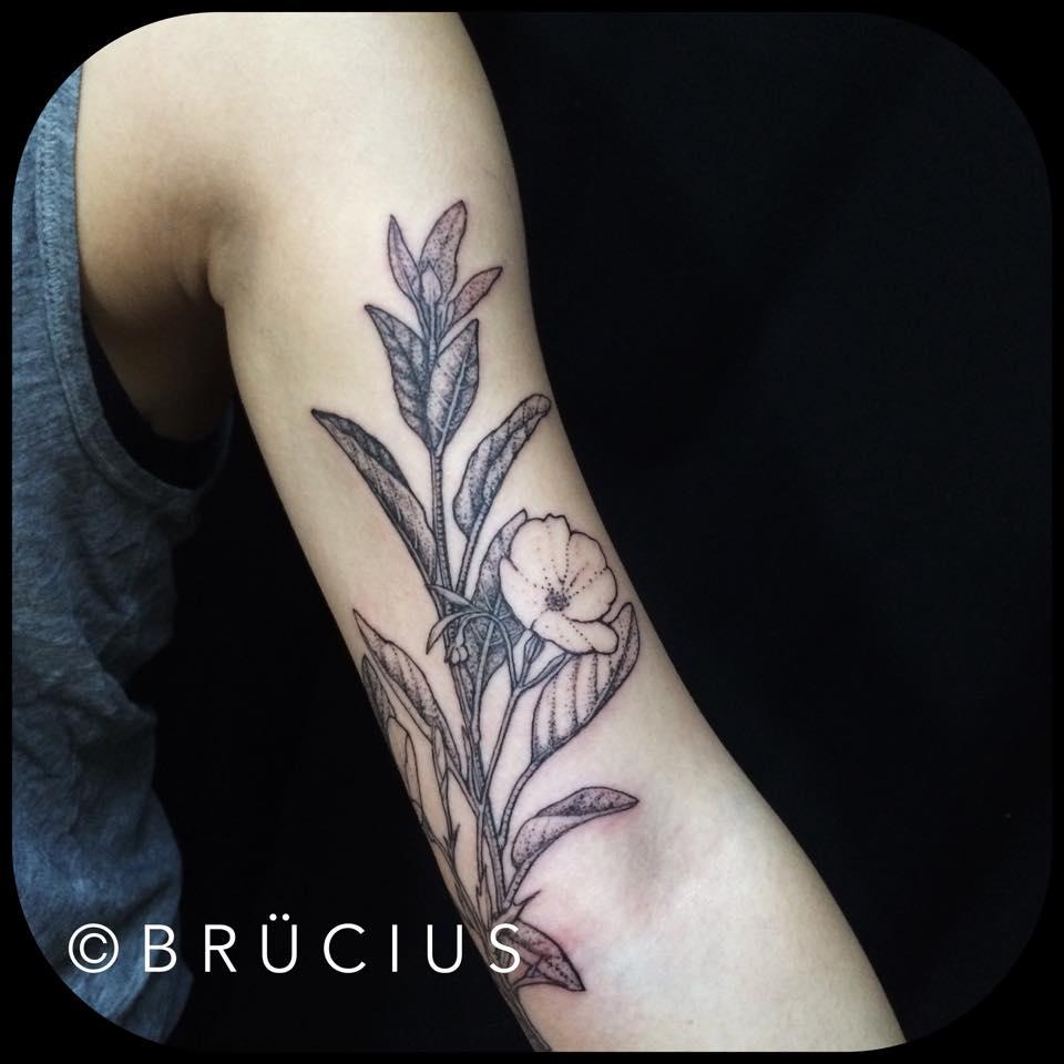 759b211cd Black Ink Flowers Tattoo On Left Half Sleeve