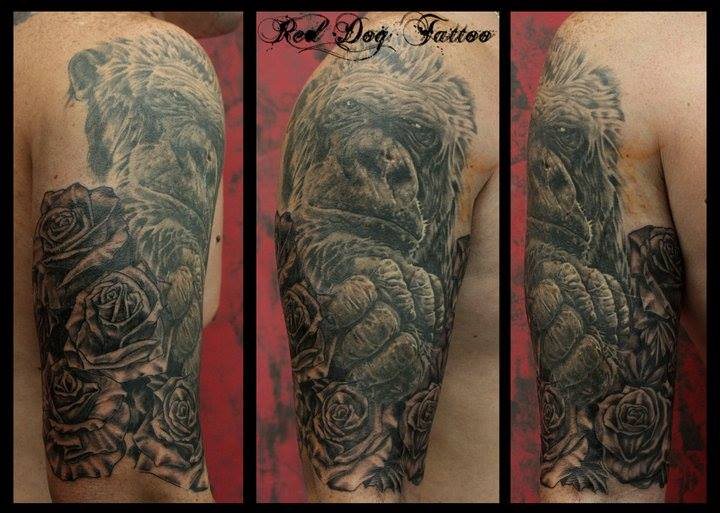 Black Ink Gorilla With Roses Tattoo On Right Half Sleeve