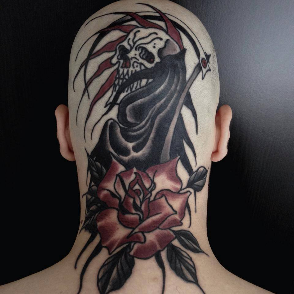 98544fee5 Black Ink Grim Reaper With Rose Tattoo On Man Back Neck