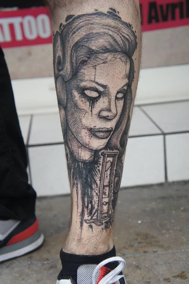 Black Ink Guillotine Lady Tattoo On Left Leg