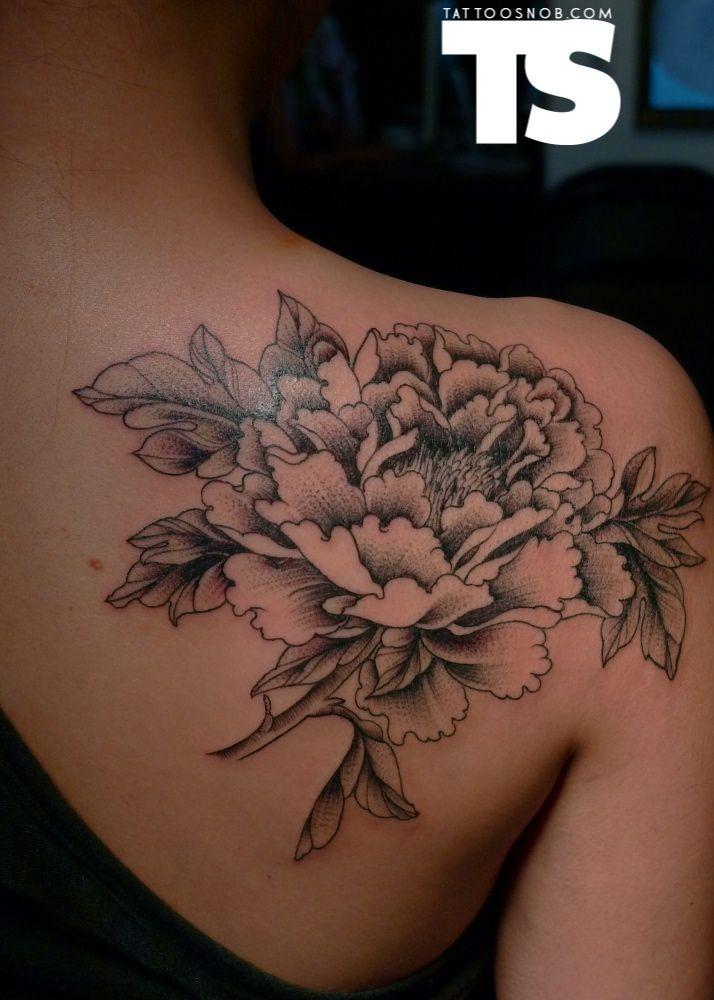 Black Ink Japanese Peony Flower Tattoo On Women Right Back Shoulder