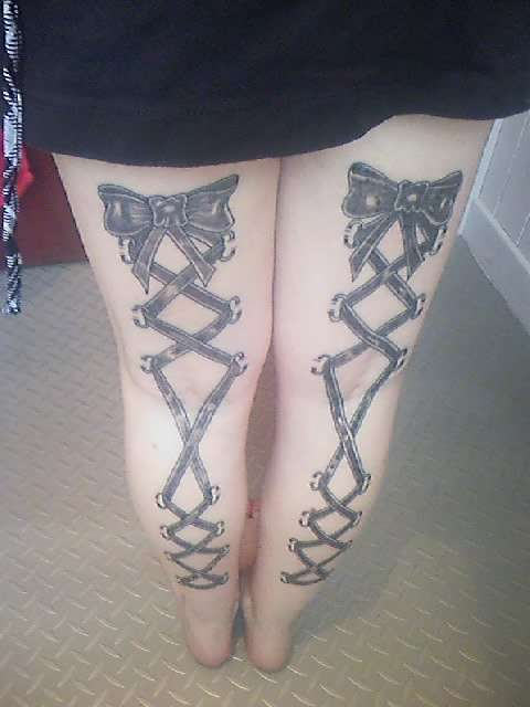 ae9376e451879 Black Ink Lace Corset With Bow Tattoo On Both Back Leg