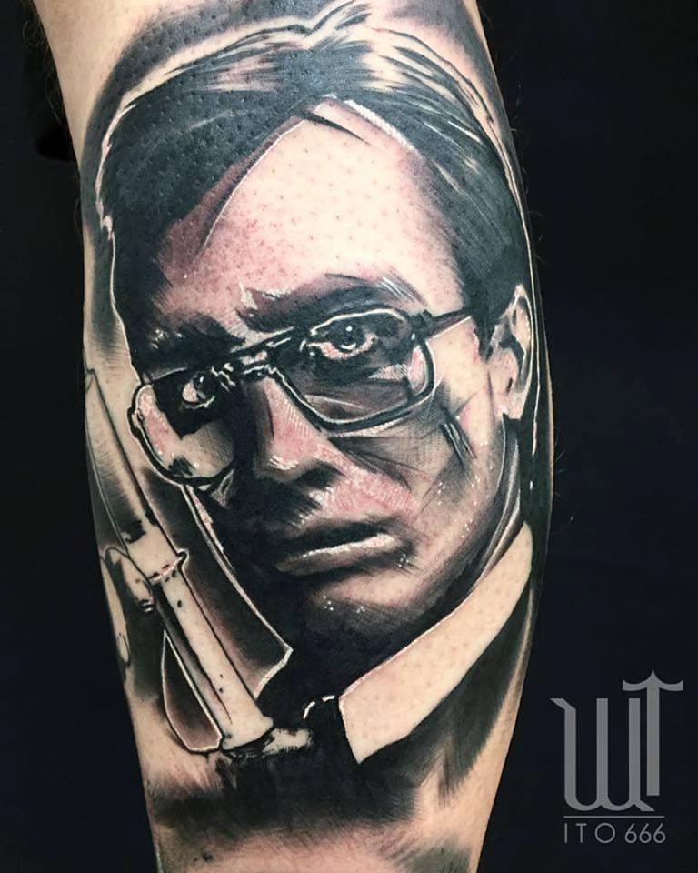 Black Ink Man Face Tattoo Design For Leg Calf