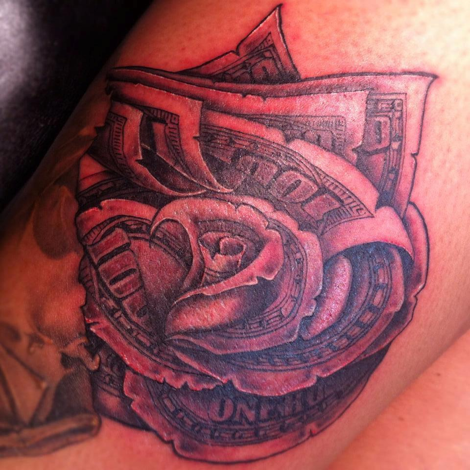 38 awesome money rose tattoos ideas for Black tattoo ink