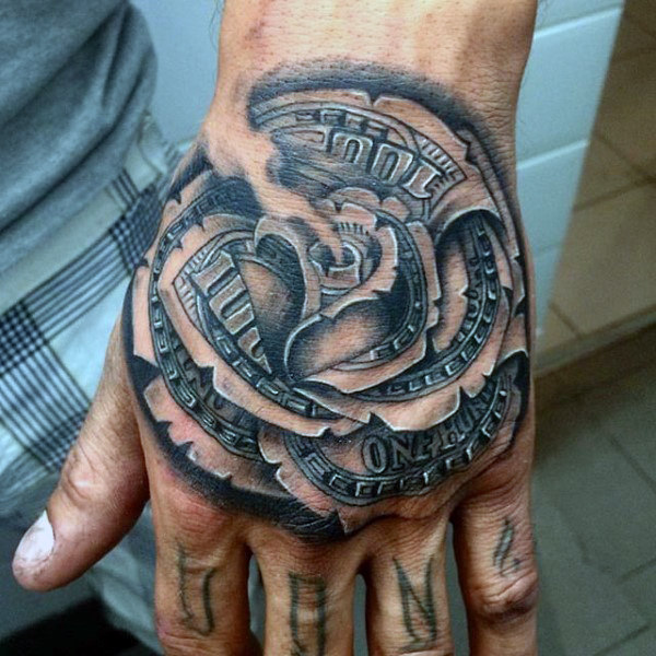 21 Catchy Black Ink Tattoos Designs By Hugo: Black Ink Money Rose Tattoo On Left Hand