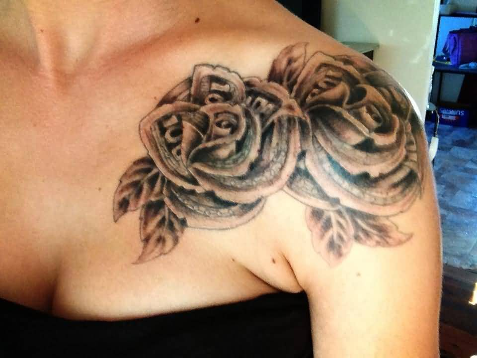 12 money rose tattoos on shoulder for Rose tattoo on back shoulder