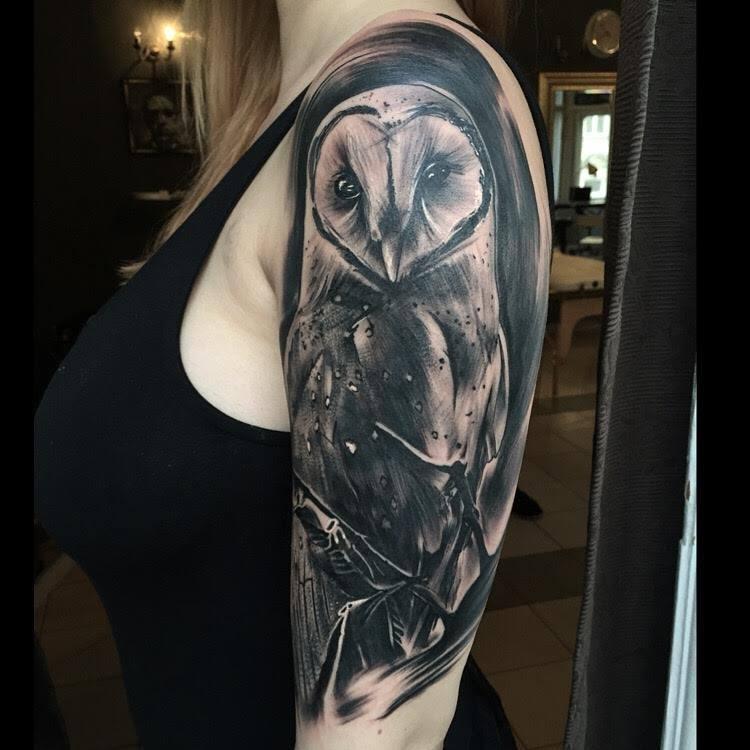 Black Ink Owl Tattoo On Women Left Half Sleeve