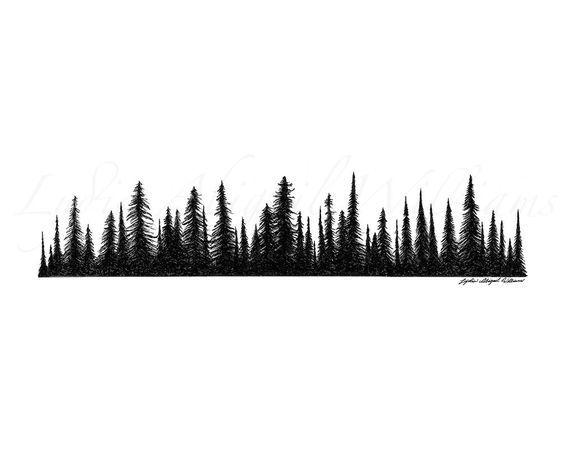 Black Ink Pine Trees Tattoo Design
