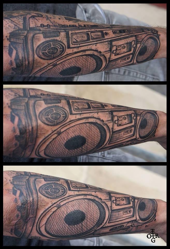 Black Ink Radio Tattoo On Right Arm