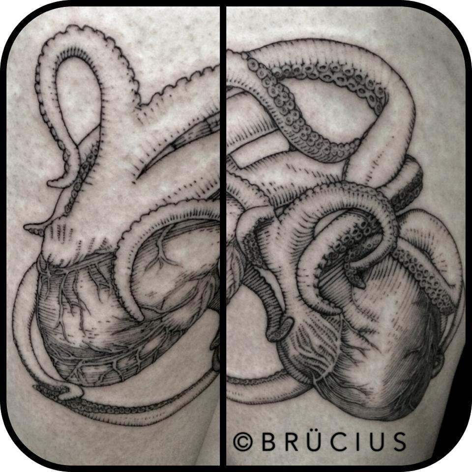 Black Ink Real Heart Octopus Tattoo Design
