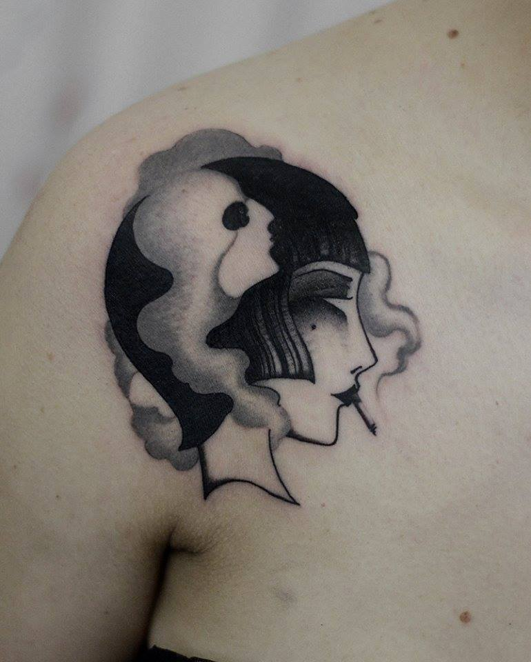 Black Ink Smoking Girl Face Tattoo On Right Front Shoulder