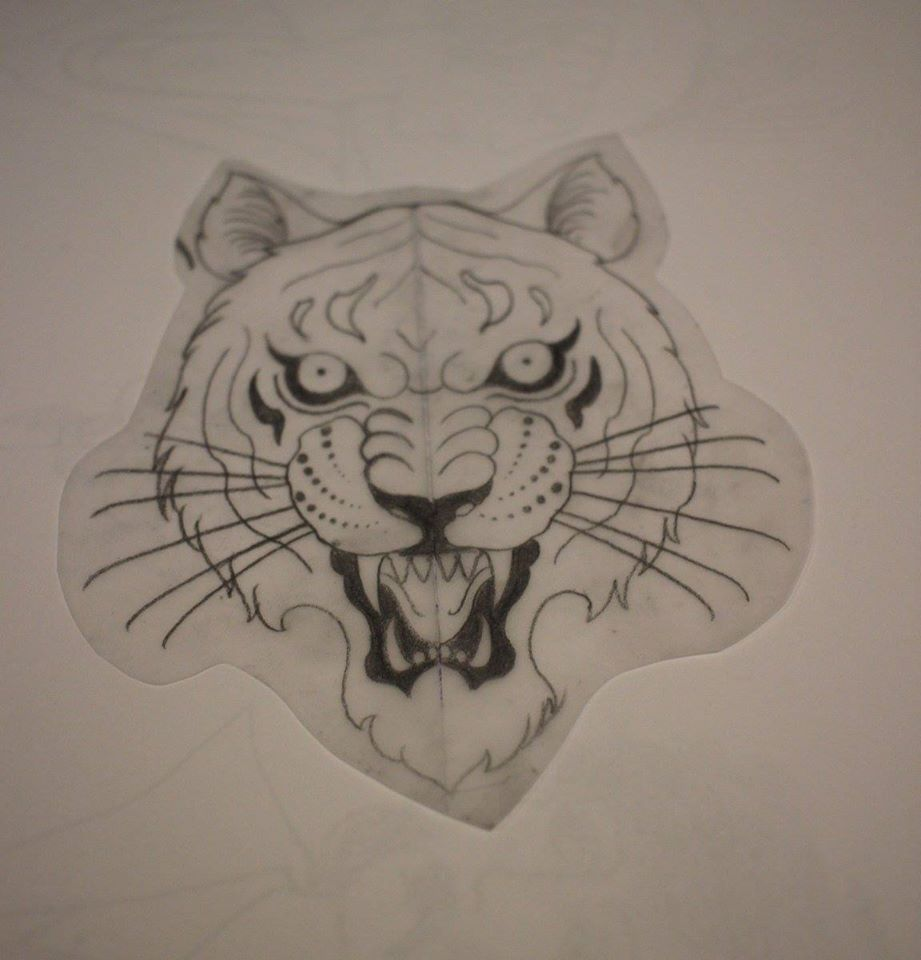 Black Ink Tiger Head Tattoo Design