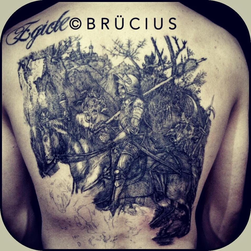 Black Ink Warrior On Horse Tattoo On Man Upper Back