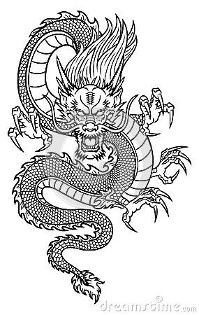 black outline chinese dragon tattoo design