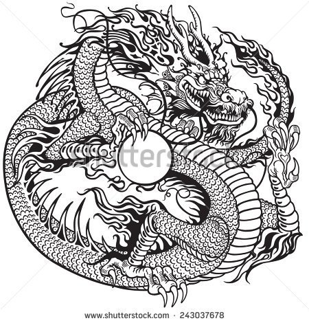 black outline chinese dragon tattoo stencil