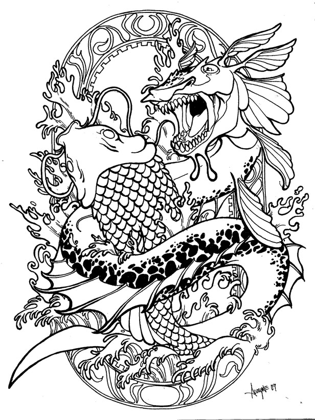 Black Outline Leviathan With Koi Fish Tattoo Stencil By Ramon